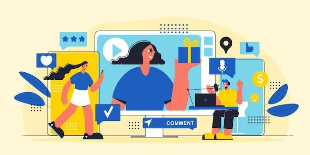 Horizontales marketing-poster mit influencern, die waren repräsentieren und bewerben, werfen persönliche webkanäle