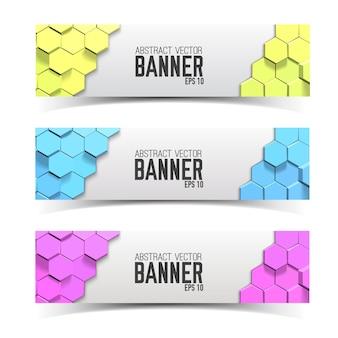 Horizontales modernes bannerset mit mehrfarbigen waben