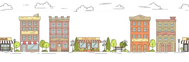 Horizontales nahtloses muster der stadtlandschaft mit häusern, park, café. lineare vektor-illustration