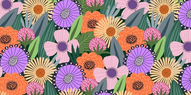 Horizontales nahtloses muster mit niedlichen gekritzelblumen und -blättern auf dunklem hintergrund,