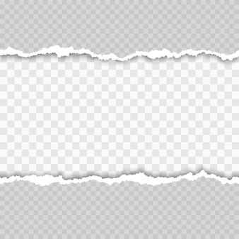 Horizontales nahtloses zerrissenes weißes papier mit schatten