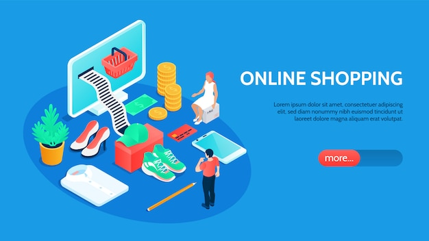 Horizontales online-shopping-banner mit isometrischen technologie- und zahlungssymbolen