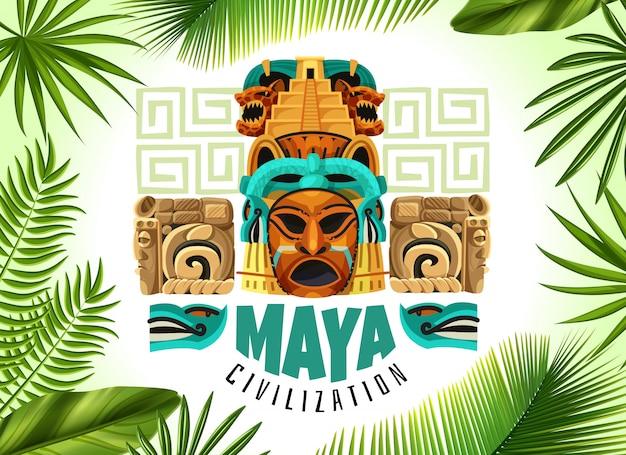 Horizontales plakat der maya-zivilisation