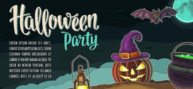 Horizontales poster mit halloween-party-kalligraphie-schriftzug. fledermaus, lampe, gruseliges kürbisgesicht, hexenhut mit schnalle, mond, nebel, kessel. vektor-farbweinlese-gravurillustration auf dunklem hintergrund