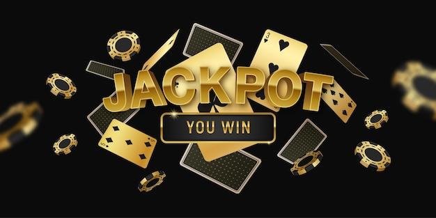 Horizontales schwarz-goldenes banner des poker-jackpot-online-turniers mit realistischen schwebenden karten und chips
