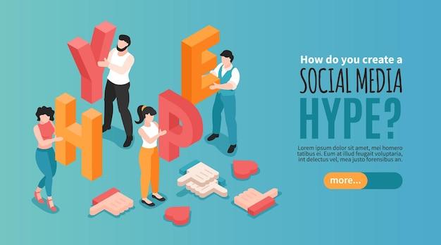 Horizontales social-media-hype-banner mit menschlichen charakteren, die buchstaben halten und 3d isometrisch mögen