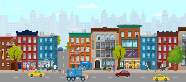 Horizontales sommerstadtpanorama mit häusern, geschäften, menschen, autos, scycraper im hintergrund. stadtstraße. flache illustration.