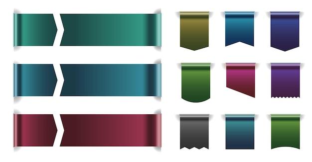 Horizontales und vertikales tag-farbband mit eingestelltem kopierraum. seidenlesezeichen mit leerer leerer stelle für werbetext