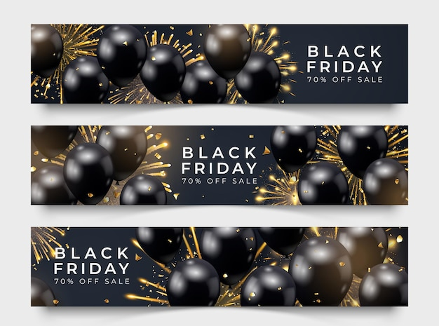Horizontales verkaufsplakat mit drei black friday mit realistischen ballonfeuerwerken und konfetti