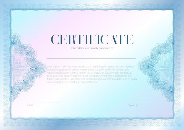 Horizontales zertifikat mit guilloche- und wasserzeichenvektor-schablonendesign. diplom-design-abschluss, auszeichnung, erfolg.