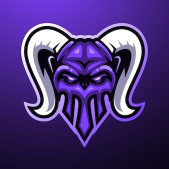 Horn-schädel-maskottchen-logo