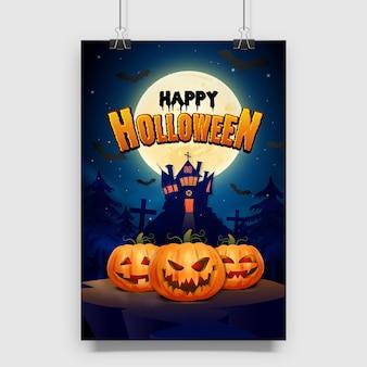 Horror glücklicher halloween-gruß mit kürbisplakat