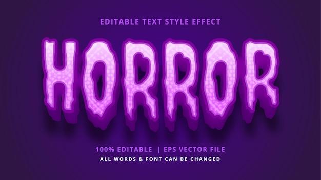 Horror halloween 3d-textstil-effekt bearbeitbarer illustrator-textstil