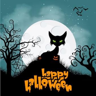 Horror katze für halloween hintergrund