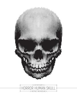 Horror-menschlicher schädel-vektor-hintergrund