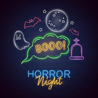 Horror night leuchtreklame. halloween-plakat-designschablonenleuchtreklame, horrorlichtfahne, leuchtreklame