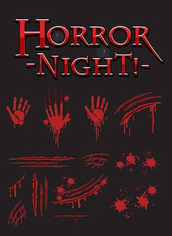 Horror night textdesign mit blutigen handabdrücken