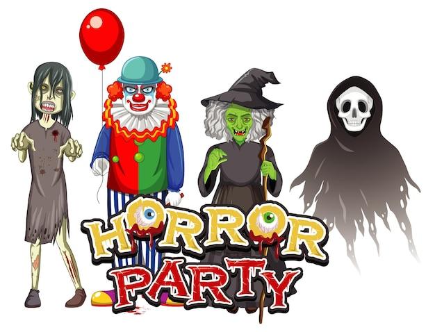 Horror party textdesign mit halloween geisterfiguren