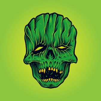 Horror skull face mask maskottchen illustrationen
