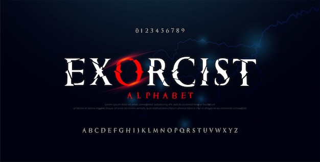 Horrorfilm alphabet schriftart. typografie gebrochenes design für halloween