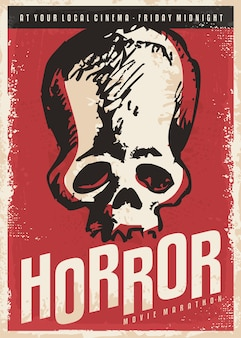 Horrorfilmplakat-designidee mit dem schädel auf rotem hintergrund