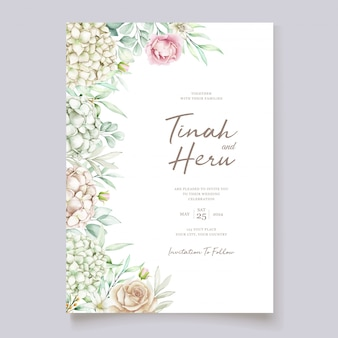 Hortensie aquarell hochzeit einladungskarte vorlage