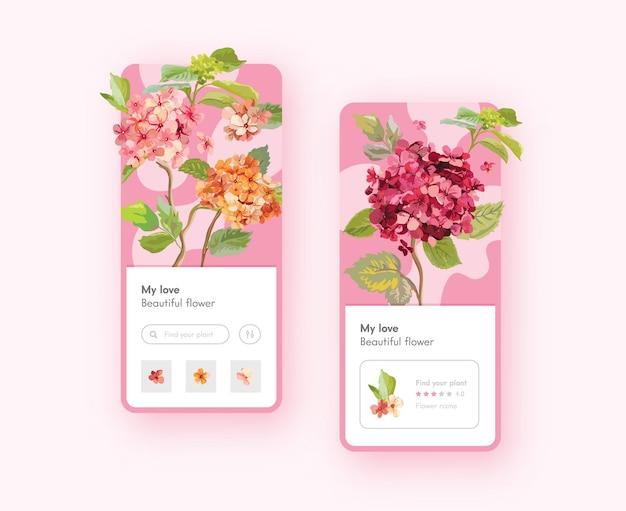Hortensie blumen mobile app-seite onboard-bildschirmvorlage. blumenladen, hochzeitsdekoration. natur, natürliche blüten oder blumensträuße lieferservice, schönheit des gartenpflanzenkonzepts. vektorillustration