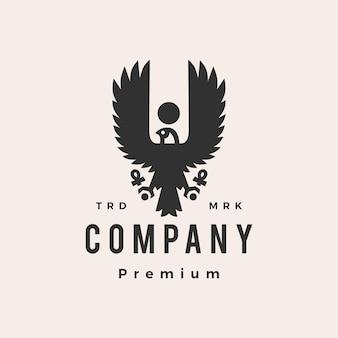 Horus adler falke vogel ägypten hipster vintage logo vorlage Premium Vektoren
