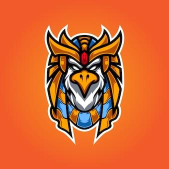 Horus head e sport maskottchen logo