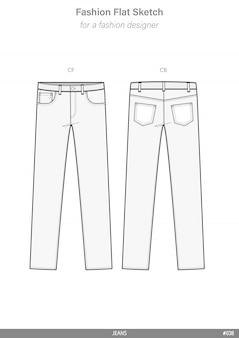 Hose jeans flache technische zeichnungsvektorschablone der mode