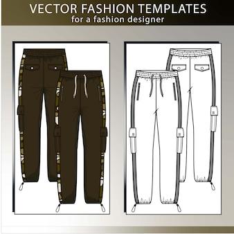 Hosen mode flache skizze vorlage, cargohose, vorne und hinten