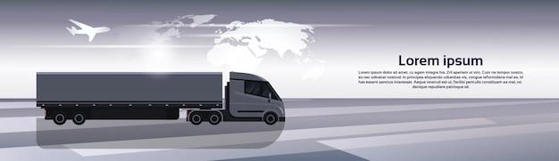 Hosizontal-fahne mit halb lkw-anhänger-fahrzeug über weltkarte-weltweiter frachtschifffahrt und lieferungs-konzept
