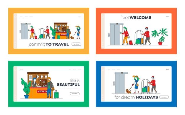 Hospitality landing page template set. die charaktere kommen an und lassen die hotelleute an der rezeption. nehmen sie die schlüssel aus dem zimmer am clerk desk. mitarbeiter der lobby treffen gäste, bellboy trägt gepäck. linear