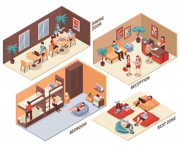 Hostel zimmer isometric set