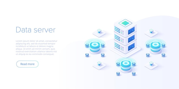 Hosting server isometrisch. abstrakter rechenzentrums- oder blockchain-hintergrund.