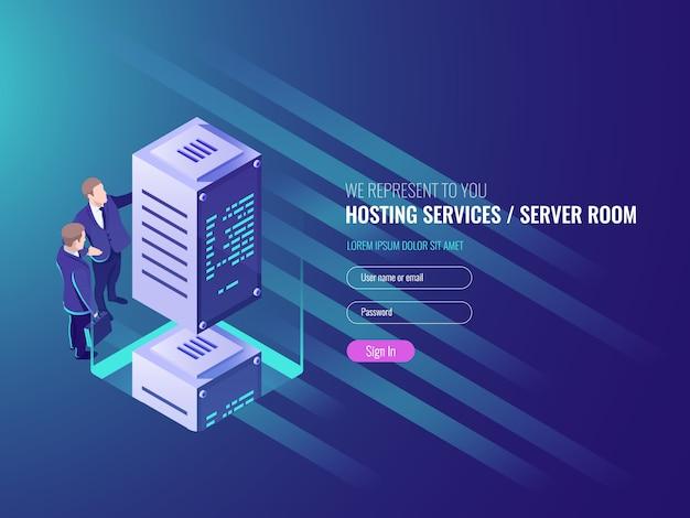 Hosting-services-konzept, cryptocurrency und blockchain isometrische zusammensetzung