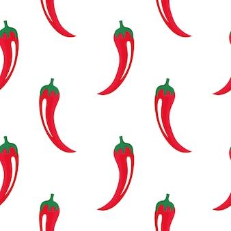 Hot cayennepfeffer roter pfeffer hintergrund. chile nahtloses muster. chili-dekor für cinco de mayo. mexikanisches lokales essen