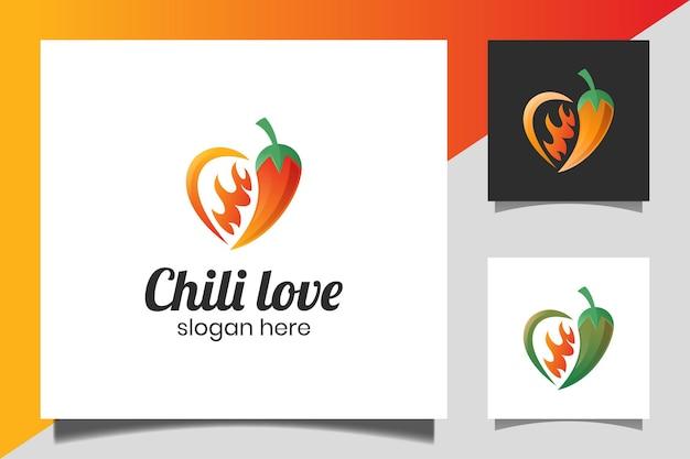 Hot chili kombinierte liebe wie würziges vektordesign. würziges mexikanisches essen. für würziges essen business restaurant logo-design
