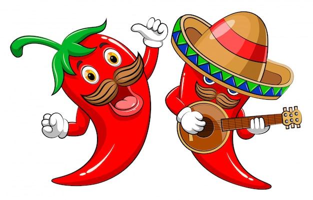 Hot chili mit zwei charakteren, der gitarre spielt und singt