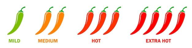 Hot chili pepper icons set. mäßiger bis sehr heißer schweregrad. einfache flache abbildung.