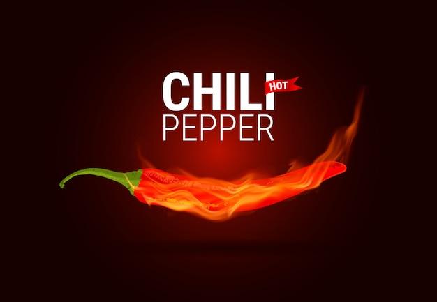 Hot chili pfeffer brennen in flammen