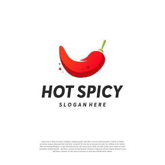 Hot chilli-logo-designs vektor, würzige paprika-logo-vorlage