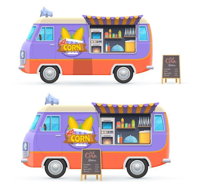 Hot corn food truck isoliert catering van mit tafel menü und ausrüstung zum kochen von mais. karikaturauto für straßenlebensmittelverkauf, café- oder restaurantwagen auf rädern mit baldachintransport