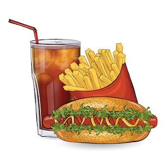Hot dog, frei und trinken im skizzenstil auf dem weißen hintergrund.
