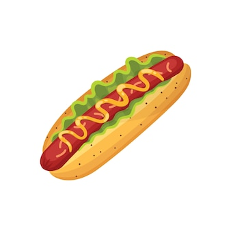 Hot dog illustration fast food isolierte ikone