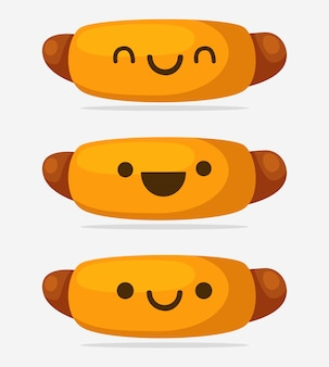 Hot dog illustration kawaii