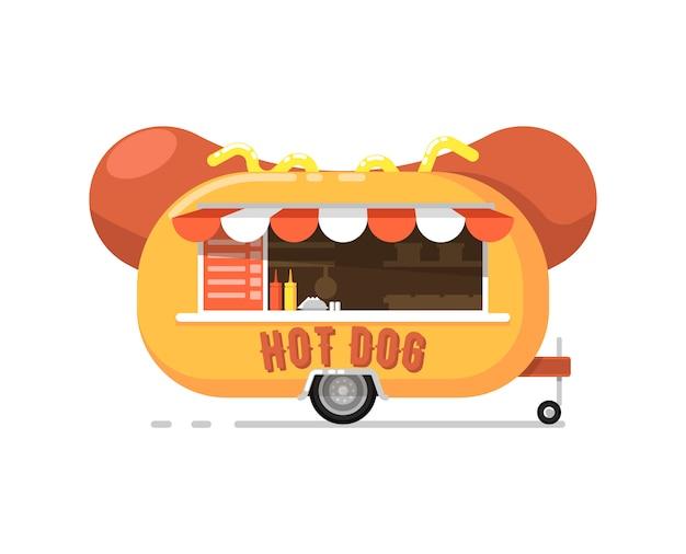 Hot dog im freien cafe service-symbol
