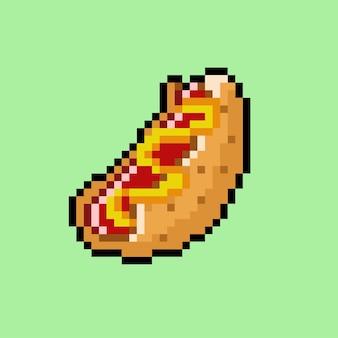 Hot dog mit pixel-art-stil