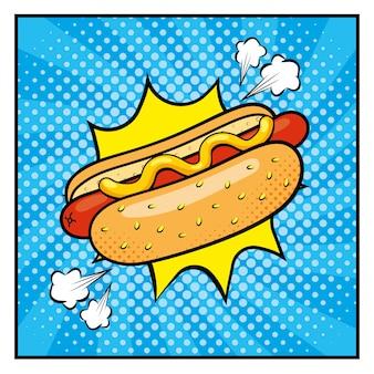 Hot dog mit saucen und pop-art-stil