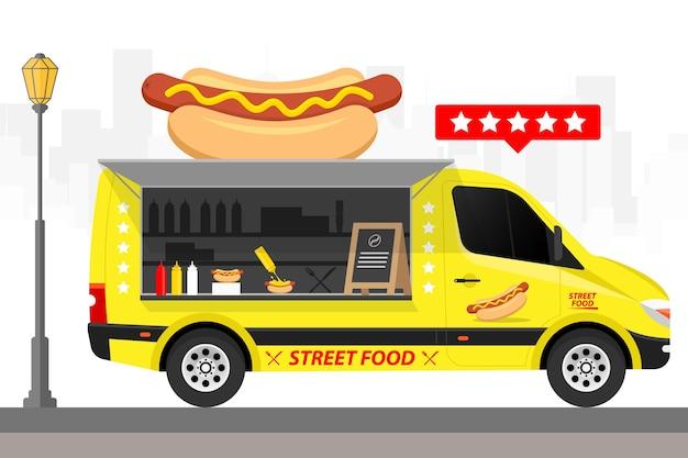 Hot dog van fast food van lkw illustration